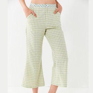 Green gingham pants